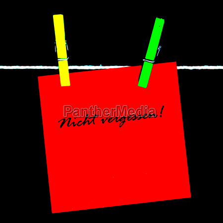 roter merkzettel nicht vergessen stilisiert