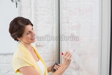 geschaeftsfrau schreiben brainstorming ideen an bord