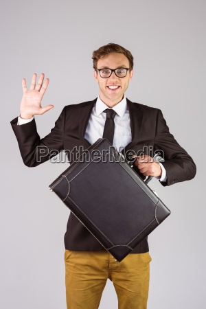 young, geeky, businessman, holding, briefcase - 13790633