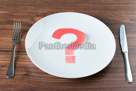 plate with a question mark on