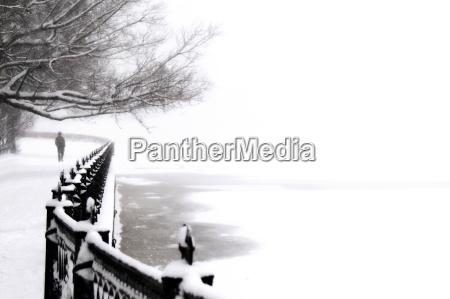 embankment at snowfall