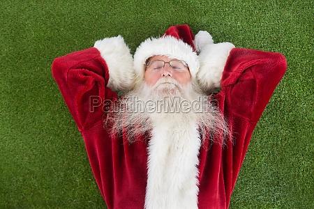 der, weihnachtsmann, liegt, schläft, und, hat, einen - 13808277