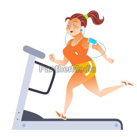 fette, frau, auf, sport, stationär, laufband - 13810667