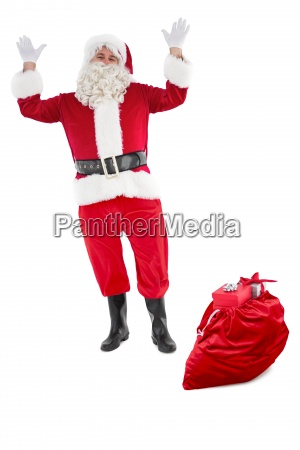 happy santa claus mit sack voller