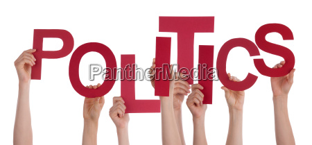 many people hands holding red word