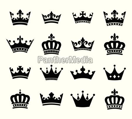 indsamling af krone silhuet symboler vol2