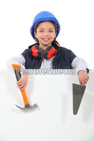 little girl dressed as a craftsman