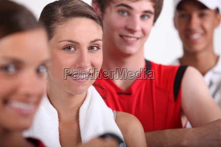 four sporty young people