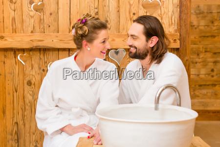 couple enjoying the wellness spa romantic