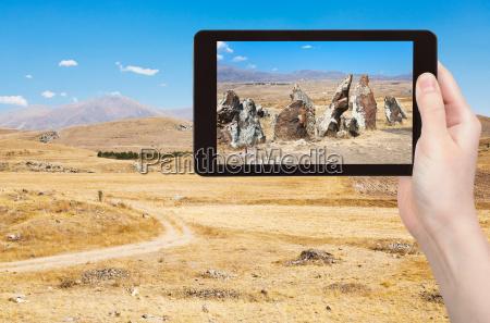 touristen fotos von zorakarer in armenien