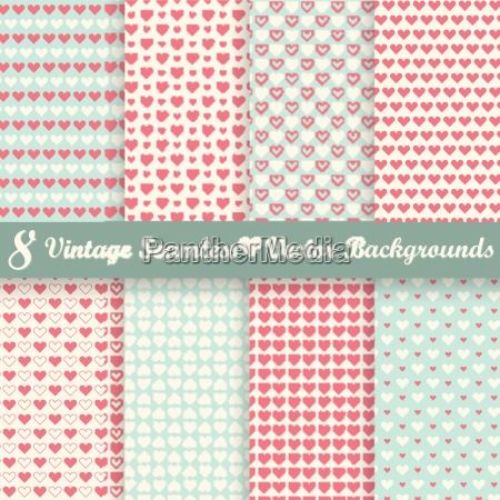collection seamless vintage heart backgrounds
