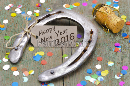 neujahr 2016 mit hufeisen als gluecksbringer