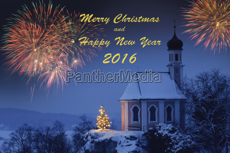 neujahr 2016 mit weihnachtskapelle christbaum und