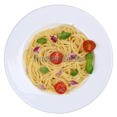 spaghetti pasta dish with tomatoes and
