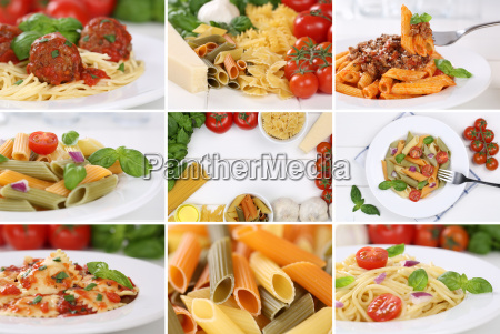 collage mit zutaten fuer ein spaghetti