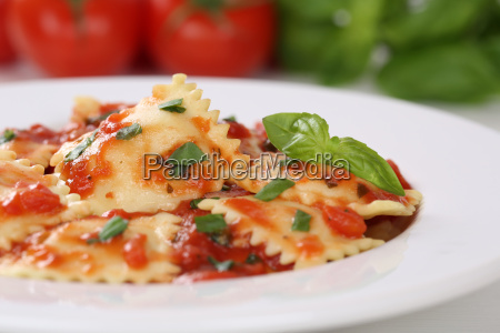 italian noodle ravioli with tomato and