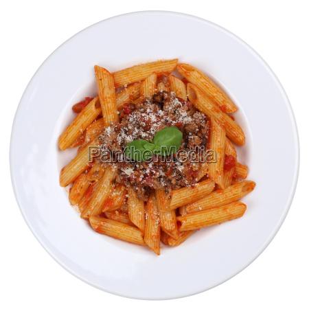 pasta rigate bolognese or bolognaise sauce
