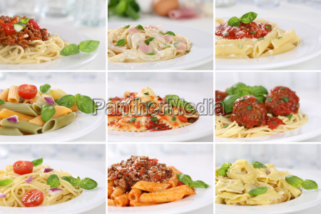collage of spaghetti food eating pasta