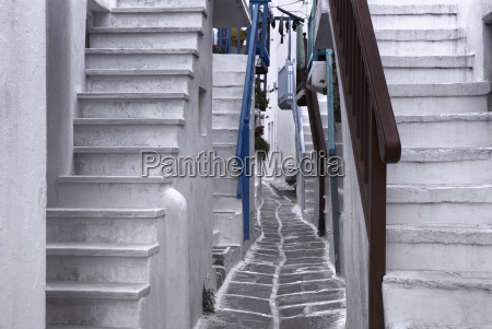 beautiful whitewashed street in the old