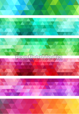 abstract geometric banner background set