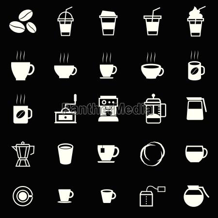 kaffee symbole auf schwarzem hintergrund