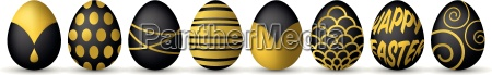 easter eggs in black and gold
