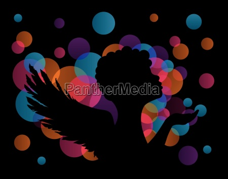 angel silhouette vector black