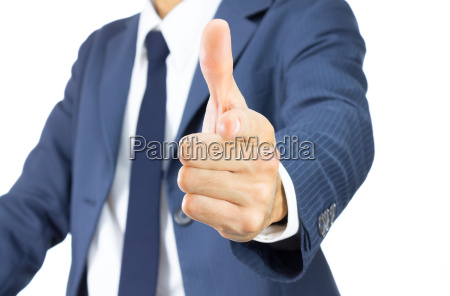 businessman finger and thumb or pointing