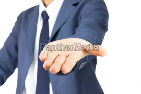 businessman open palm hand gesture isolated
