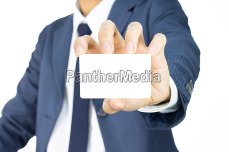 businessman hold business card or white