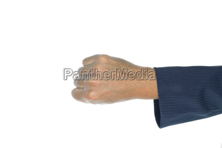 businessman fist top view isolated on