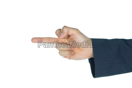 businessman middle finger isolated on white