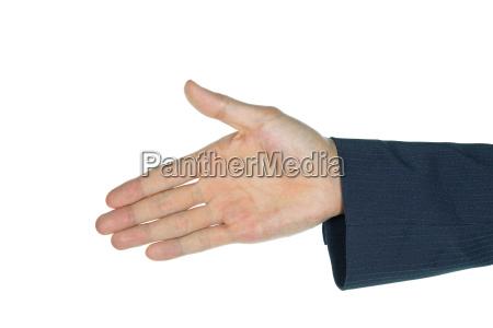 businessman one handshake isolated on white