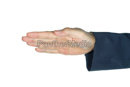businessman show palm or hand isolated