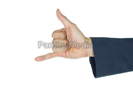 businessman show thumb and little finger