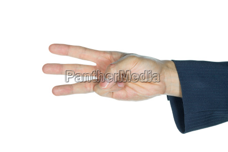 businessman three fingers isolated on white