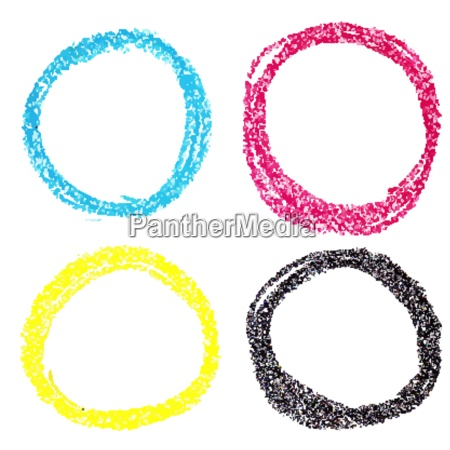 set of cmyk circle spots of