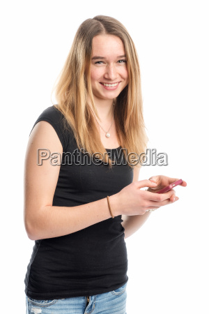 youth holding a cell phone and
