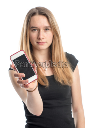 teens showing off her smartphone