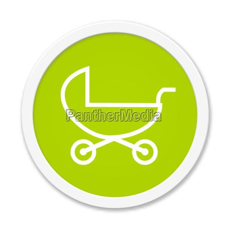 runder gruener button mit kinderwagen symbol