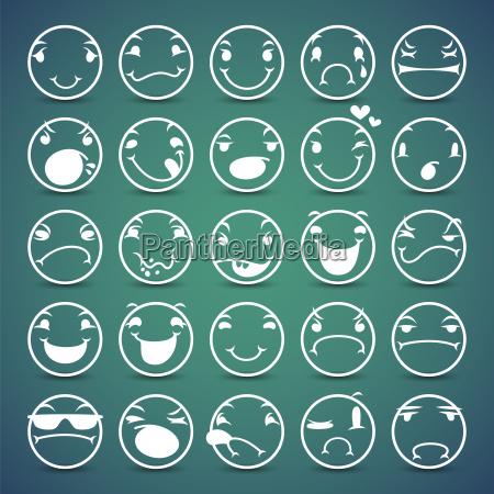 cartoon gesichts espressions icons set