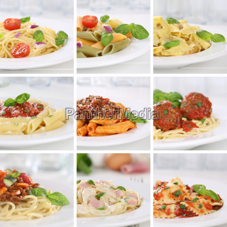 italian food collage of spaghetti pasta