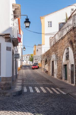 narrow street of evora in portugal