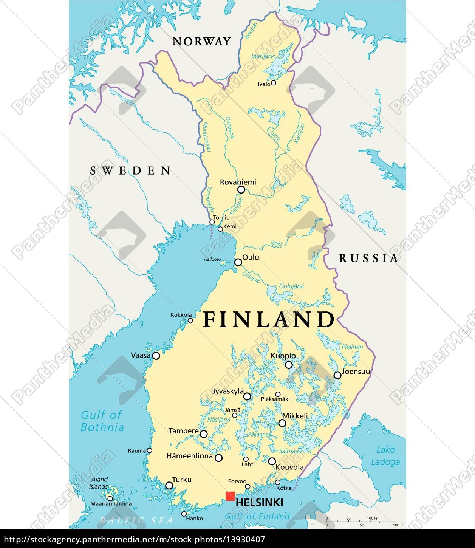 Finnland Politische Karte Stockfoto 13930407 Bildagentur