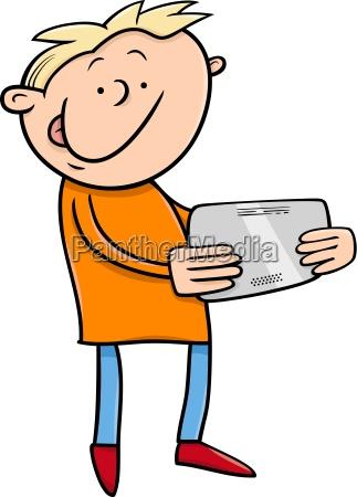 boy with tablet cartoon illustration
