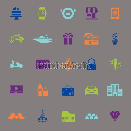 birthday gift color icons on gray