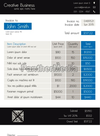 invoice template clean modern style