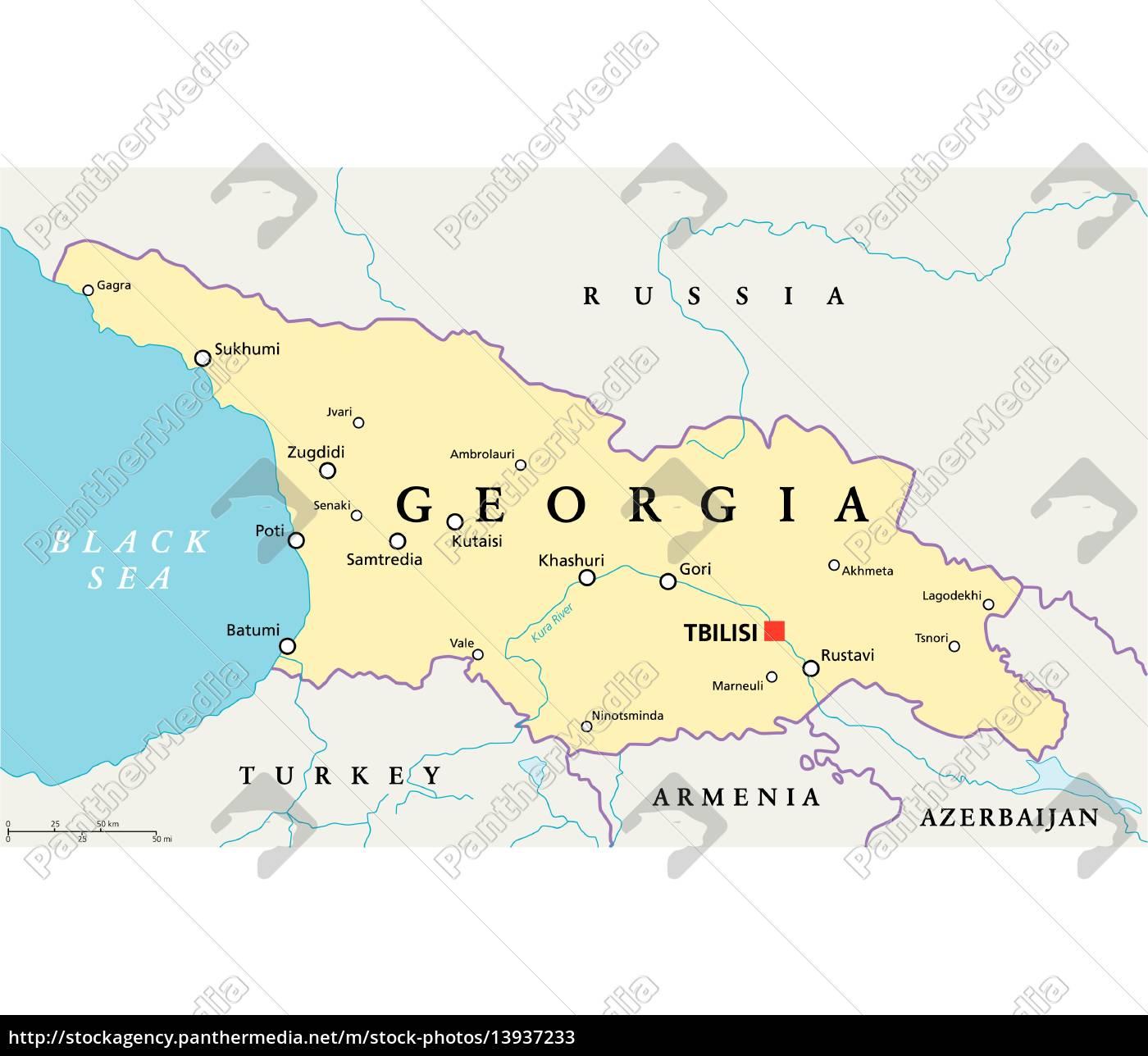 Georgia Political Map - Lizenzfreies Bild - #13937233 - Bildagentur ...