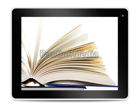 buch auf tablet computer bildschirm lesen