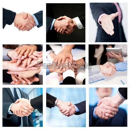 teamarbeit und business handshake collage